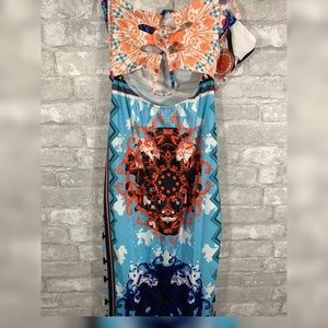 Dresses - Light Blue Floral Maxi Dress